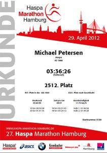 Urkunde Marathon Hamburg 2012